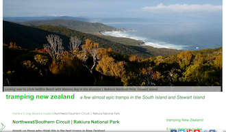 tramping new zealand website screenshot
