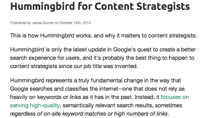 hummingbird blog extract