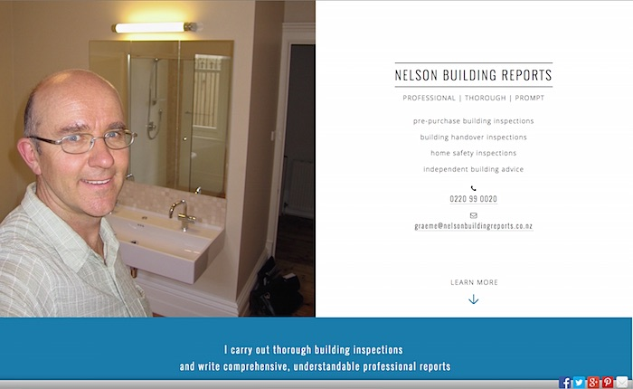 Nelson Building Reports website screenshot