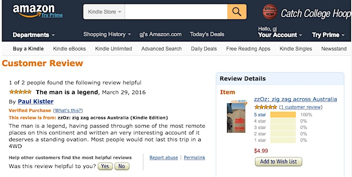 First Amazon 5 star review, for zzOz