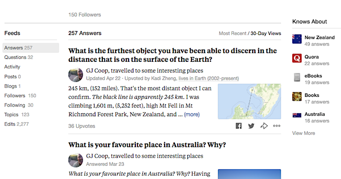 257 answers on Quora