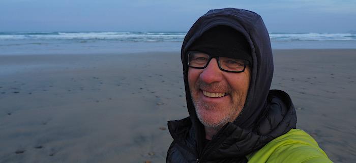 GJ Coop at Little Hellfire Beach, Rakiura