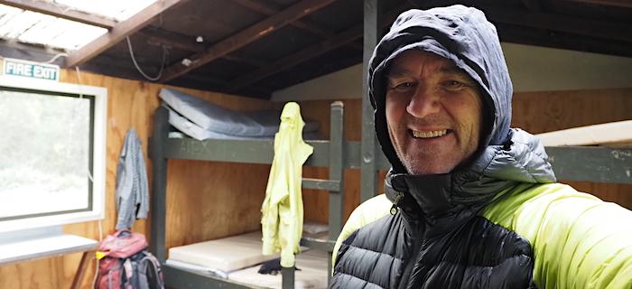 GJ Coop at Monowai Hut on Day 6
